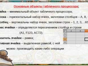 Основные объекты табличного процессора: Ячейка – минимальный объект табличног