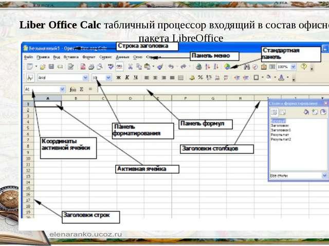 Liber Office Calc табличный процессор входящий в состав офисного пакетаLibre...