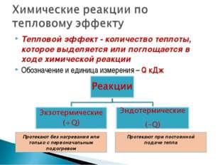 Тепловой эффект - количество теплоты, которое выделяется или поглощается в хо