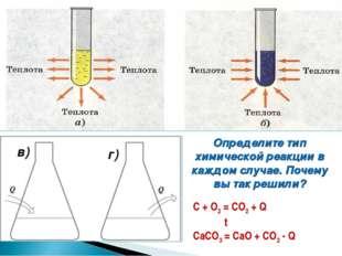 в) г) Определите тип химической реакции в каждом случае. Почему вы так решили