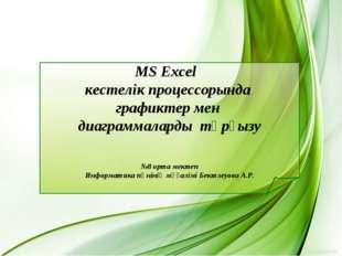 MS Excel кестелік процессорында графиктер мен диаграммаларды тұрғызу №8 орта