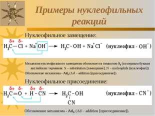 Примеры нуклеофильных реакций Нуклеофильное замещение: Механизм нуклеофильног