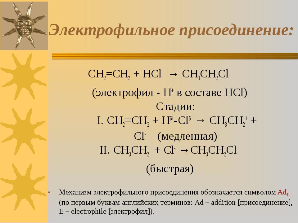 Электрофильное присоединение: CH2=CH2 + HCl → CH3CH2Cl (электрофил -...