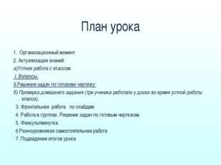План урока 1. Организационный момент 2. Актуализация знаний: а)Устная работа