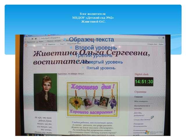 Блог воспитателя МБДОУ «Детский сад №62» Живетиной О.С.