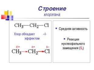 Строение хлорэтана Хлор обладает –I-эффектом Средняя активность Реакции нукле