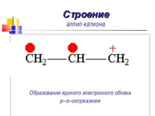 Строение аллил-катиона Образование единого электронного облака p–p–сопряжение