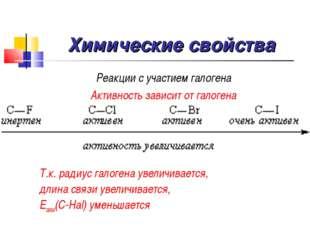 Химические свойства Реакции с участием галогена Активность зависит от галоген