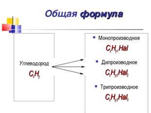 Общая формула Углеводород СxHy Монопроизводное СxHy-1Hal Дипроизводное СxHy-2