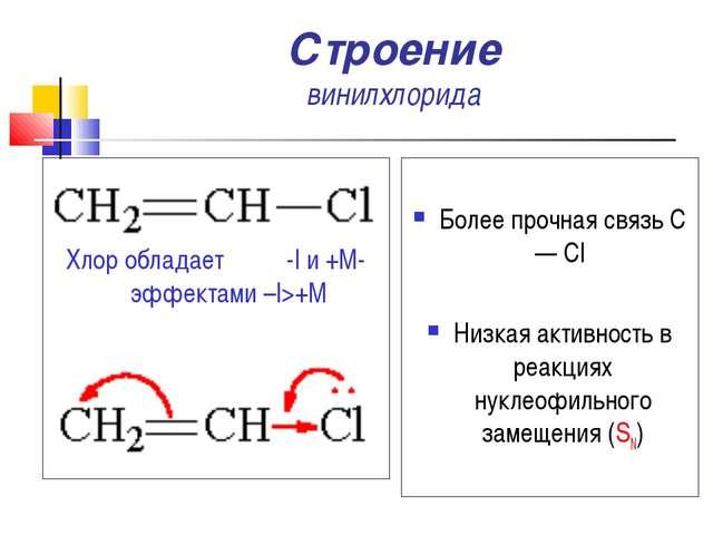 Строение винилхлорида Более прочная связь С — Cl Низкая активность в реакциях...