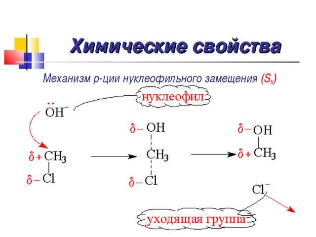 Химические свойства Механизм р-ции нуклеофильного замещения (SN)