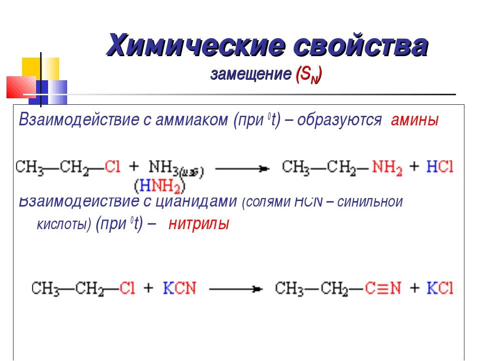 Химические свойства замещение (SN) Взаимодействие с аммиаком (при 0t) – образ...