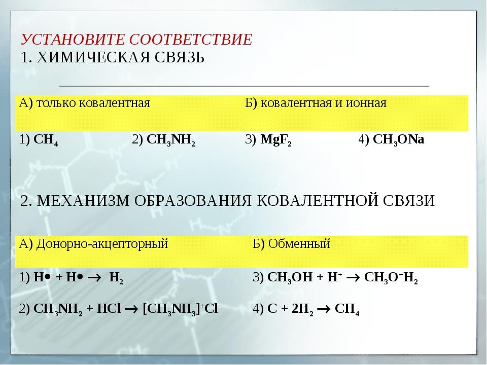 УСТАНОВИТЕ СООТВЕТСТВИЕ 1. ХИМИЧЕСКАЯ СВЯЗЬ 2. МЕХАНИЗМ ОБРАЗОВАНИЯ КОВАЛЕНТН...