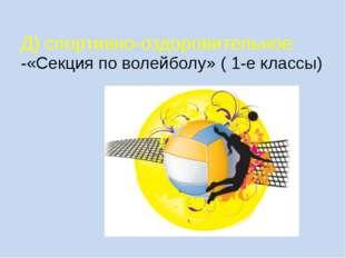 Д) спортивно-оздоровительное: -«Секция по волейболу» ( 1-е классы)