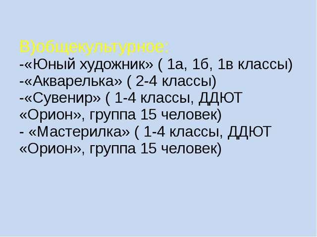 В)общекультурное: -«Юный художник» ( 1а, 1б, 1в классы) -«Акварелька» ( 2-4 к...
