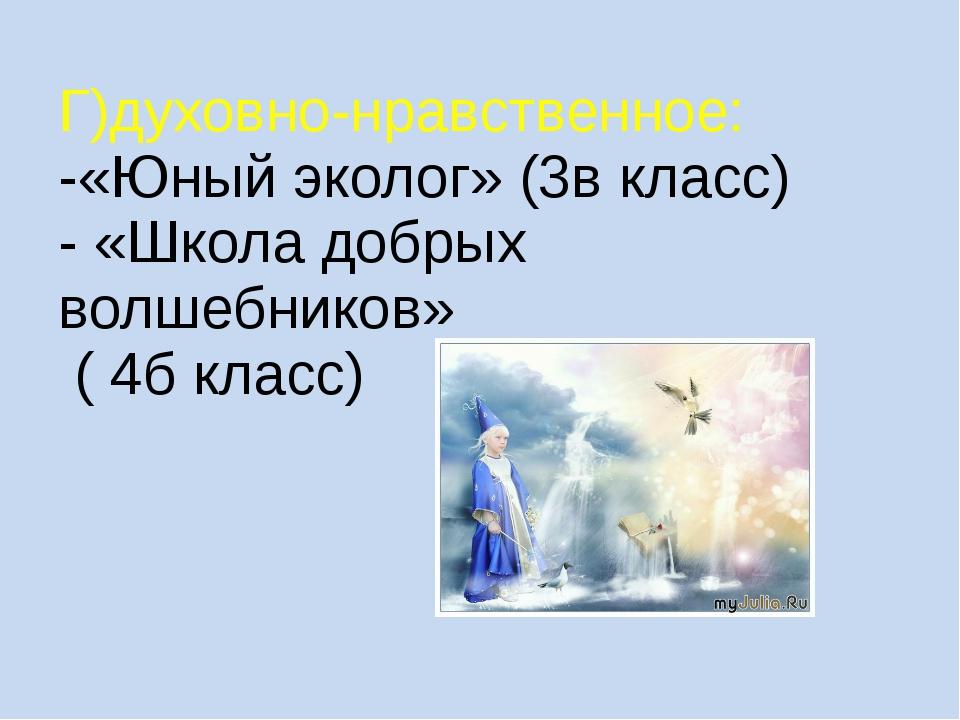 Г)духовно-нравственное: -«Юный эколог» (3в класс) - «Школа добрых волшебников...