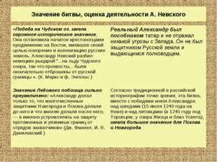 Значение битвы, оценка деятельности А. Невского