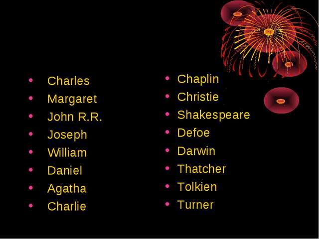 Chaplin Christie Shakespeare Defoe Darwin Thatcher Tolkien Turner Charles Mar...