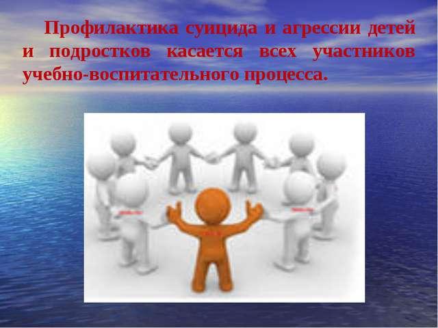 Профилактика суицида и агрессии детей и подростков касается всех участников у...