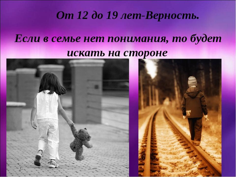 От 12 до 19 лет-Верность. Если в семье нет понимания, то будет искать на стор...