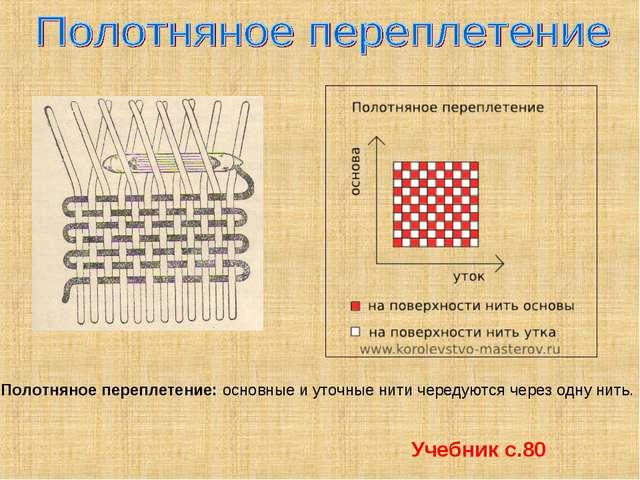 Полотняное переплетение: основные и уточные нити чередуются через одну нить....