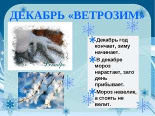ДЕКАБРЬ «ВЕТРОЗИМ» Декабрь год кончает, зиму начинает. В декабре мороз нараст