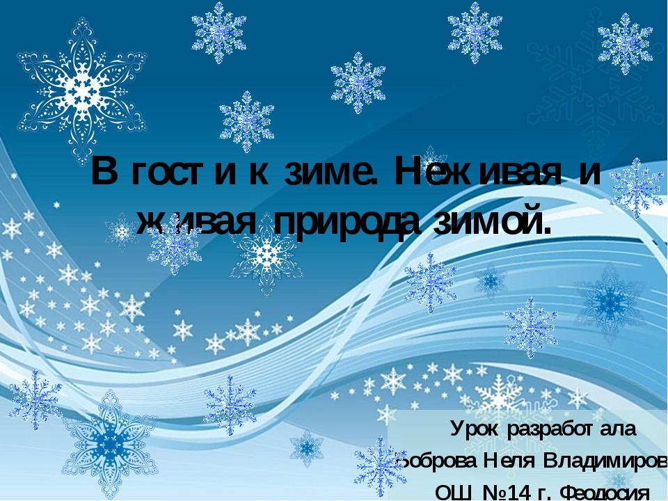 В гости к зиме. Неживая и живая природа зимой. Урок разработала Боброва Неля...