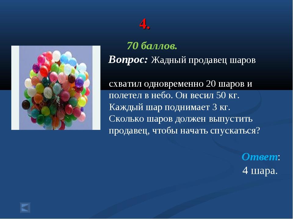 4. 70 баллов. Вопрос: Жадный продавец шаров схватил одновременно 20 шаров и п...