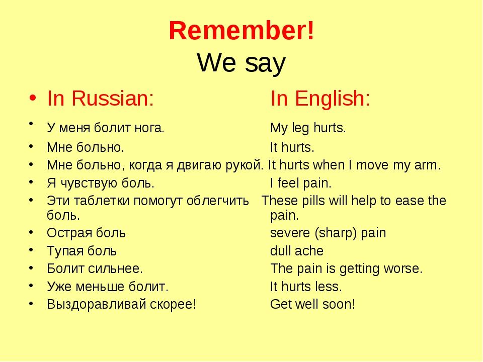 Remember! We say In Russian:In English: У меня болит нога.My leg hurts....