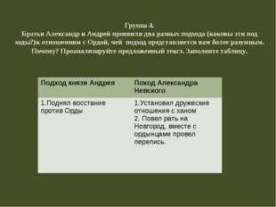 Группа 4. Братья Александр и Андрей проявили два разных подхода (каковы эти п