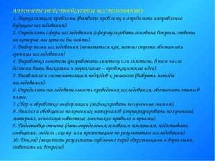 АЛГОРИТМ ДЕЙСТВИЙ(ЭТАПЫ ИССЛЕДОВАНИЯ): 1. Актуализация проблемы (выявить проб