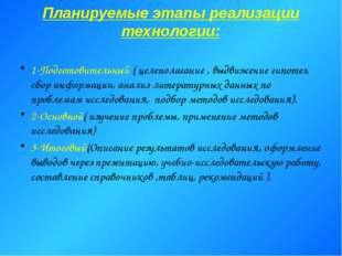 Планируемые этапы реализации технологии: 1-Подготовительный ( целеполагание