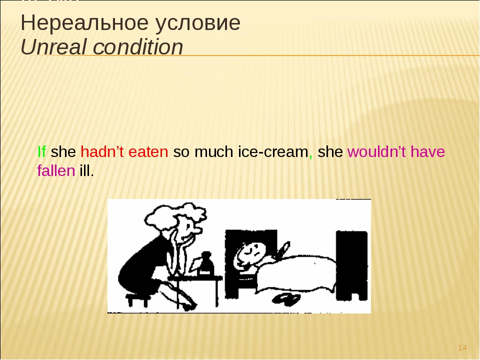 * If she hadn't eaten so much ice-cream, she wouldn't have fallen ill. III ти...