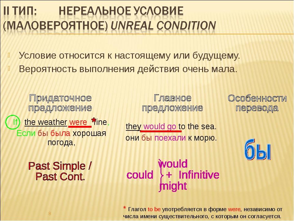 Условие относится к настоящему или будущему. Вероятность выполнения действия...
