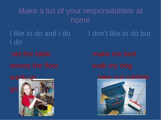 Make a list of your responsibilities at home I like to do and I do I don't li...