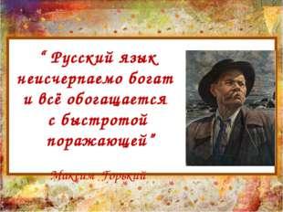 """"""" Русский язык неисчерпаемо богат и всё обогащается с быстротой поражающей"""" М"""