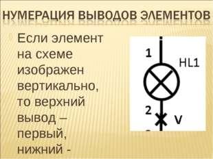 Если элемент на схеме изображен вертикально, то верхний вывод – первый, нижни