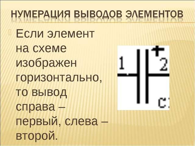Если элемент на схеме изображен горизонтально, то вывод справа – первый, слев...