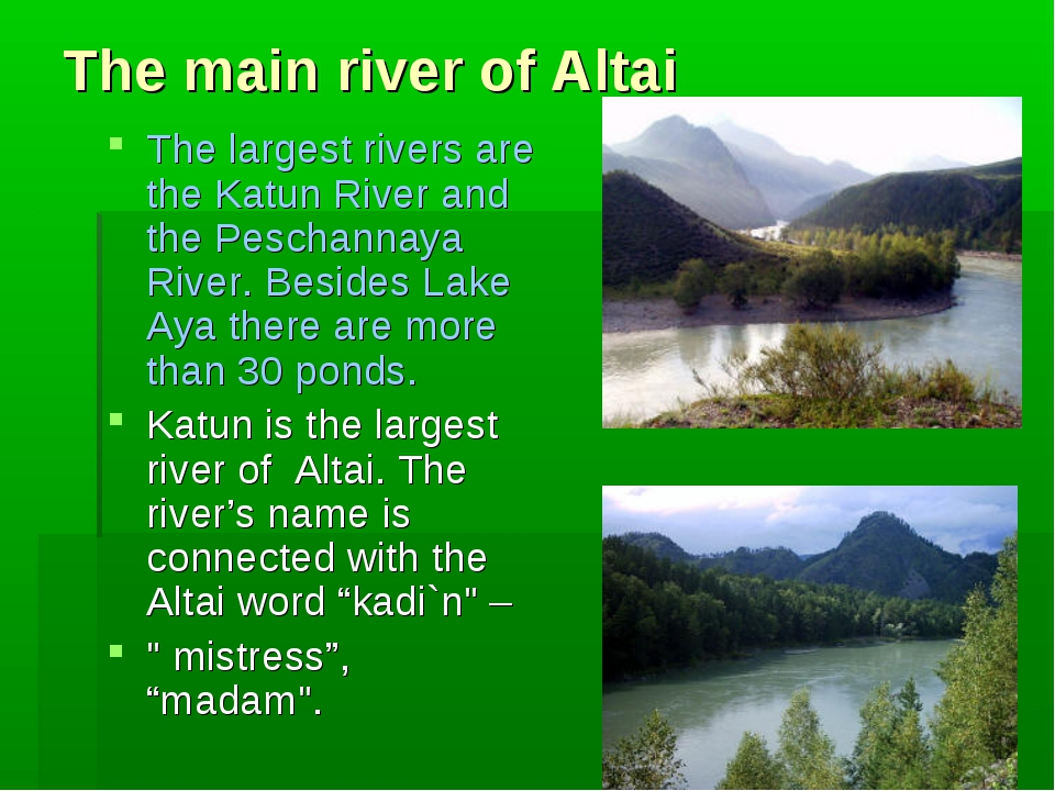 The main river of Altai The largest rivers are the Katun River and the Pescha...