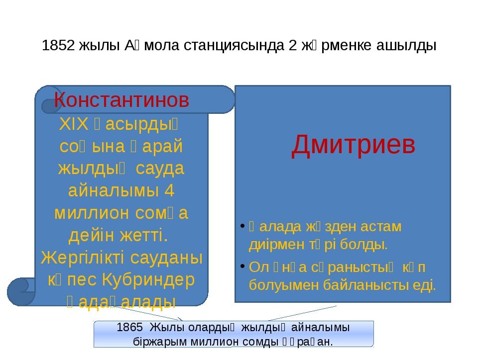 1852 жылы Ақмола станциясында 2 жәрменке ашылды Константинов ХІХ ғасырдың соң...