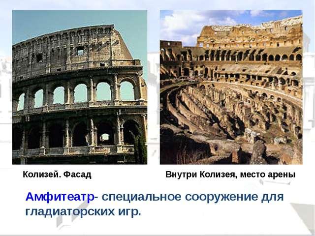 Колизей. Фасад Внутри Колизея, место арены Амфитеатр- специальное сооружение...