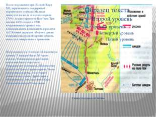 Схема Полтавской битвы После поражения при Лесной Карл XII, заручившись подд
