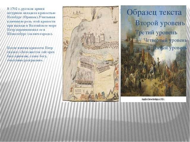 В 1702 г. русская армия штурмом овладела крепостью Нотебург (Орешек).Учитывая...