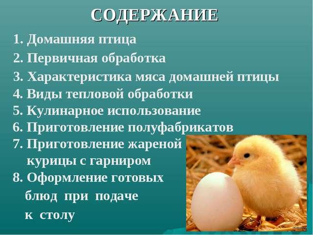 СОДЕРЖАНИЕ 1. Домашняя птица 2. Первичная обработка 3. Характеристика мяса до...