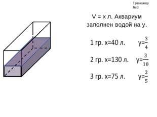 V = x л. Аквариум заполнен водой на y. Тренажер №3