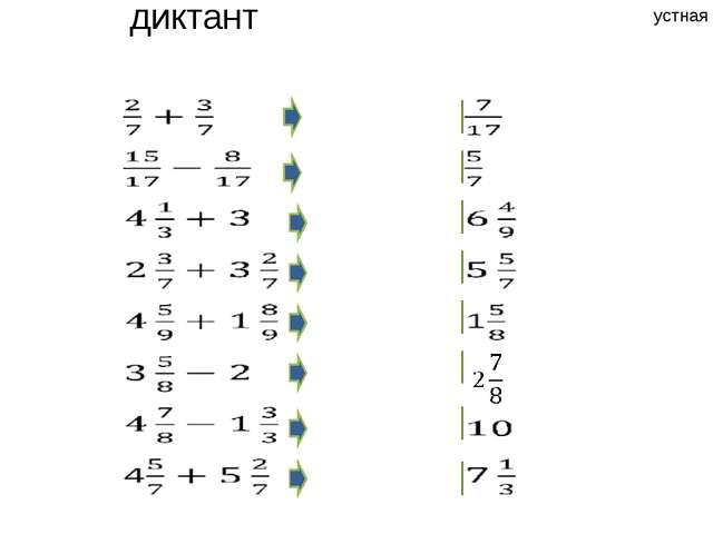 Арифметический диктант устная