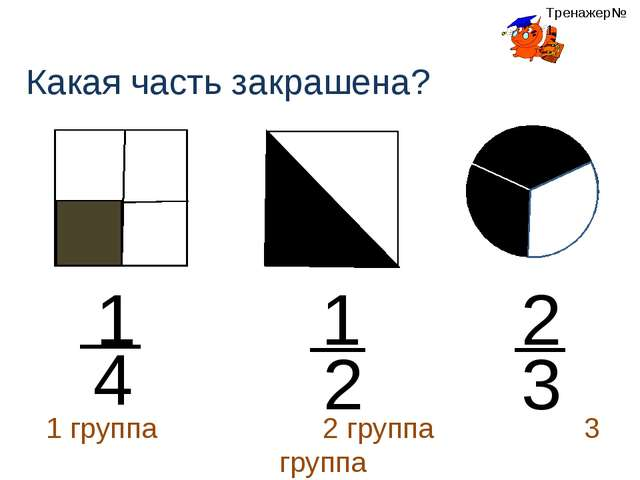 1 4 Какая часть закрашена? 2 1 2 3 1 группа 2 группа 3 группа Тренажер№1