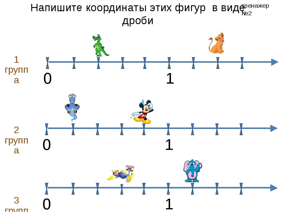 Напишите координаты этих фигур в виде дроби 1 группа 2 группа 3 группа тренаж...