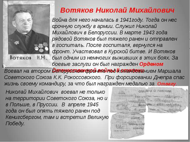 Вотяков Николай Михайлович Война для него началась в 1941году. Тогда он нес с...