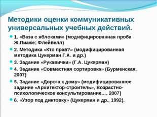 Методики оценки коммуникативных универсальных учебных действий. 1. «Ваза с яб